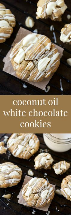 A half-batch version of a soft and chewy white chocolate cookie with macadamia nuts. These cookies are made with coconut oil and have an optional chocolate drizzle for the white chocolate lover!