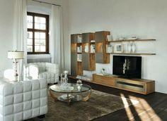 White wood modern living room