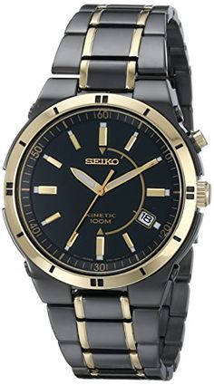 Seiko Men's SKA366 Stainless Steel Two-Tone Kinetic Dress Watch