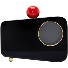 Charlotte Olympia Black Mobile Perspex Box Clutch ($1,150) ❤ liked on Polyvore featuring bags, handbags, clutches, charlotte olympia, clasp purse, black clutches, acrylic clutches, black handbags and chain handbags