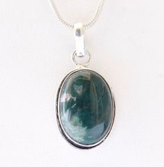 NATURAL GREEN MOSS AGATE FASHION JEWELRY 925 SILVER OVERLAY PENDANT FOR HER #925silvercastle #Pendant