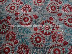 Elegant Red flower Indian Hand Block Print Pure Cotton Fabric Sanganeri Print Running Fabric online Shopping