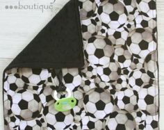 Soccer Minky Binky Blanket From Kemaily