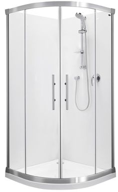 Englefield Valencia Round Sliding Shower Round front shower, sliding doors, white or chrome frame option, different sizing options, includes tray and liner. http://www.plumbin.co.nz/shop/showers/valencia_round.html
