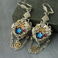 Steampunk Earrings Crystal Steampunk by ForTheCrossJewelry on Etsy