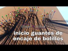 Cómo iniciar unos guantes de encaje de bolillos 1a parte - Raquel M.Adsuar Bolillotuber - YouTube Bobbin Lace, Youtube, Gloves, Shower, Dishes, Flower, Lace Gloves, Lace Purse, Knitted Gloves