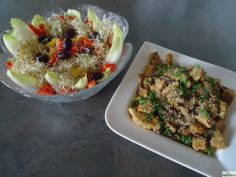 Raw Vegan - Endive and Mixed Sprouts Salad with a Protein Rich Marinated Tempeh  Mushroom Side - Total prep time for both dishes 15 minutes