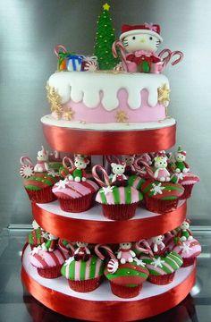 Adorable Hello Kitty cupcake idea for Christmas party! #HelloKittyChristmas #Cupcakes #HolidayParty