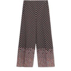 Zara Printed Culottes (€62) ❤ liked on Polyvore featuring pants, capris, zara trousers and zara pants