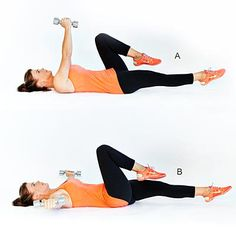 Bicycle Abs With Dumbbell Pec Fly - Save some time at the gym by getting your abs and upper body working simultaneously. In this video, Alison Sweeney shows you a hybrid move to stimulate your abdominals, chest, and shoulders. If you notice your back lifting off the ground, don't lower your legs as far—this will help protect your spine. Repeat for 30 seconds to 1 minute.