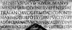 ancient roman script | Detail from the column (top) and the entire inscription from a cast