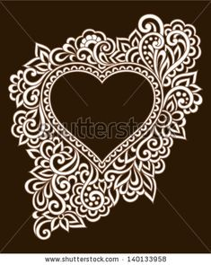 Vintage ornate frame with doodle elements. Pattern heart for wedding or Valentine's day by Bariskina, via Shutterstock