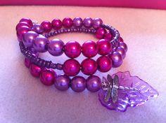 Childrens purple dragonfly bracelet