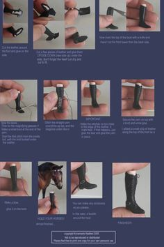 tutroial about creating miniature riding boots Barbie E Ken, Barbie Shoes, Doll Shoes, Barbie Clothes, Barbie Dolls, Ag Dolls, Girl Dolls, Doll Crafts, Diy Doll