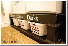cute laundry organizing ideas... now to get the hubby to build them...