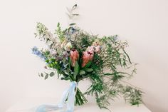 Pastel bridal bouquet featuring protea and ferns. Photography by Danni Maytree Photography Ferns, Ribbons, Wild Flowers, Wedding Events, Glass Vase, Bouquet, Pastel, Seasons, Bridal
