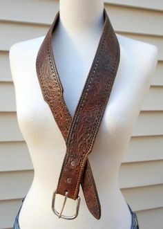 Distressed Tooled Floral Chocolate Brown Leather Man's Belt Vintage 1970s 1980s by machelle for $10.00