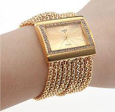 Buy Chic Classic Fashion Quartz Women's Gold Diamond Case Alloy Band Bracelet Watch at Wish - Shopping Made Fun Stylish Watches, Luxury Watches, Watches For Men, Unique Watches, Ladies Watches, Women's Watches, Watches Online, Gold Watches, Beautiful Watches