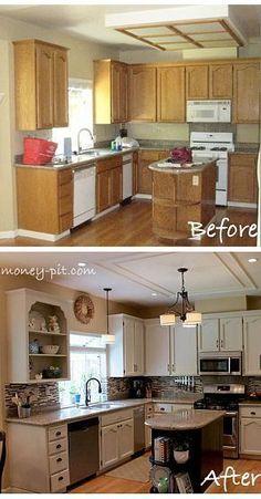 Modernizing an 80's Oak Kitchen on a Tiny Budget - http://centophobe.com/modernizing-an-80s-oak-kitchen-on-a-tiny-budget-3/ -