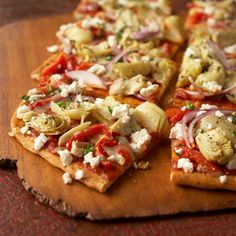 We love our Mediterranean Pepper and Artichoke Pizza! Get the recipe here: http://www.bhg.com/recipe/pizza/mediterranean-pepper-and-artichoke-pizza/?socsrc=bhg050612MediterraneanPepper