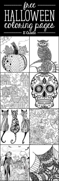 Free Halloween Adult Coloring Pages at U Create - great for relaxing and creative fun! Holidays Halloween, Spooky Halloween, Adult Halloween, Vintage Halloween, Halloween Decorations, Happy Halloween, Halloween Arts And Crafts, Free Halloween Coloring Pages, Free Adult Coloring Pages