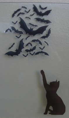 Window Cling Spooky Halloween Bats Silhouette by NipomoImprints