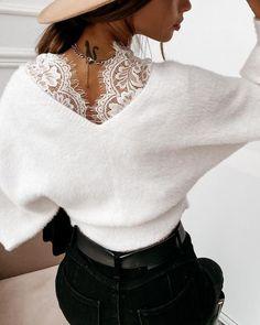 Trend Fashion, Knit Fashion, Look Fashion, Womens Fashion, Chic Type, Casual Chic Style, Elegant Outfit, Pattern Fashion, Blouse