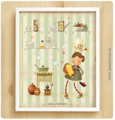 """¡Nueva lámina para paredes tristes y aburridas! Ya disponible en nuestra web. Para las chefs de la casa, un precioso regalo.  La cuarta lámina """"AY, ME PILLAS EN LA COCINA""""."""