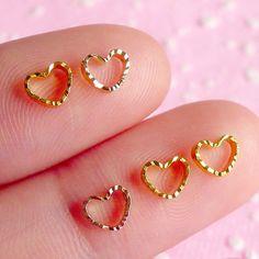 Strasssteine - Kleine Herz Cabochon Set (Gold) (5 Stück) NAC012 - ein Designerstück von MiniatureSweet bei DaWanda