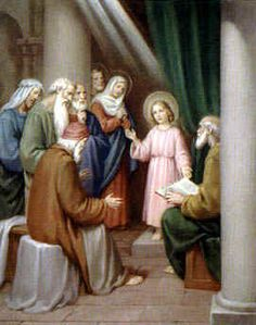 """5th Joyful Mystery - The Finding in the Temple  """"After searching for three days, Mary and Joseph find the twelve-year-old Jesus sitting in the Temple discussing the law with the learned doctors."""" (Luke 2:42-52)"""