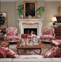 French Country decor - Eye For Design: Decorating With Red Toile French Country Living Room, French Country Cottage, French Country Style, Red Cottage, Cottage Homes, French Decor, French Country Decorating, Toile Design, Design Design