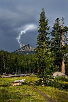 Cathedral Peak lightning. Yosemite National Park.