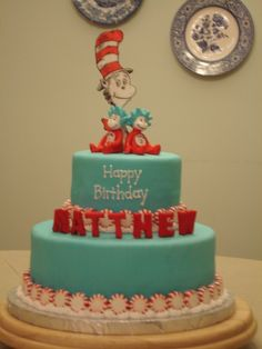 Cat in the Hat theme cake for a 4-year-olds Dr. Seuss birthday party. Letters and characters are fondant, with peppermints as border.