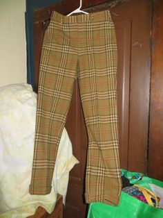 MOD 70S Cuffed brown wool plaid mens preppy by Linsvintageboutique, $45.50