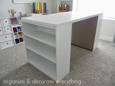 Craft table - Ikea desk top for 25 and two 15 wal mart shelves! Craft table - Ikea desk top for 25 and two 15 wal mart shelves! Craft table - Ikea desk top for 25 and two 15 wal mart shelves! Home Projects, Home Crafts, Diy Home Decor, Room Decor, Craft Organization, Craft Storage, Craft Tables With Storage, Table Storage, Craft Room Tables