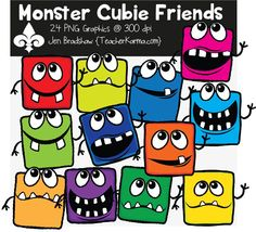 Monster Cubie Friends clipart. These ** 24 ** marvelous monster graphics are just perfect for adding to your classroom materials and educational products that you sell on Teachers Pay Teachers or other sell sites. Commercial and personal use is ok. TeacherKarma.com