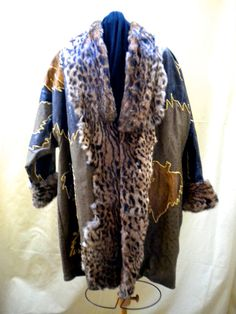 VINTAGE LEATHER COAT One of a Kind Design by blingblingfling