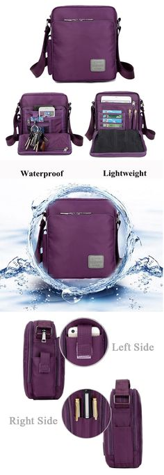 US$21.73 Women Men Nylon Waterproof Multifunctional Shoulder Bags Crossbody Bags