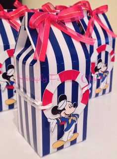 Personalized Favor Box Qty 10 Mickey Mouse by SimplyFabChic Mickey Birthday Cakes, Baby Boy Birthday Themes, Mickey Mouse First Birthday, Mickey Mouse Parties, Baby Mickey, Mickey Party, Nautical Mickey, Nautical Party, Mickey Mouse Marinero