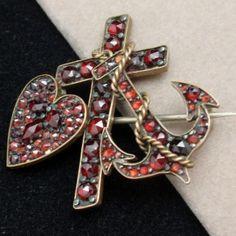 Victorian pin with Bohemian Garnets