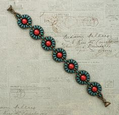 Linda's Crafty Inspirations: Bracelet of the Day: Roulette Bracelet - Teal & Red