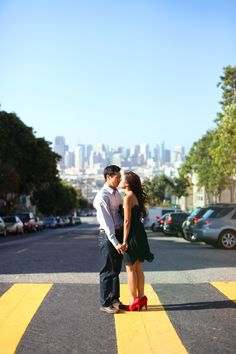 This is a cute engagement photo in San Francisco, a city in which we both LOVE!