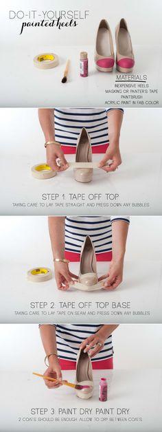 DIY painted round toe heels