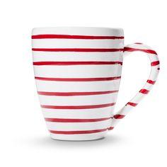 Rotgeflammt, Frühstücksbecher Max (0,3L) -> hier geht's zum Produkt #gmundnerkeramik #handbemaltes #geschirr Pure Products, Mugs, Tableware, Hand Painted Dishes, Handmade, Red, Dinnerware, Cups, Tumbler