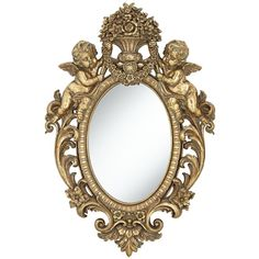 "Angelina Gold Cherub 19 3/4"" x 29 1/2"" Oval Wall Mirror found on Polyvore"
