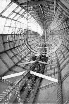 Interior of a Zeppelin, showing the hexagonal rinds and longitudinal tie-girders, WWI