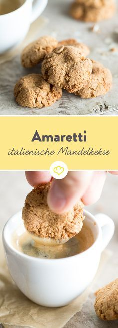 Die italienische Mandelmakronen aus bitteren Mandel.  Draußen knusprig, inner krümelig und duftend, sind die beste Begleiter für die Kaffeepause.
