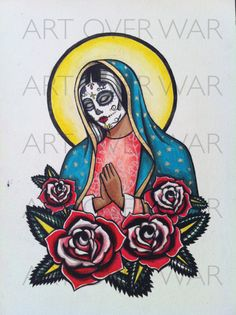 "COLORFuL Watercolor Print ""Day Of The Dead"" tattoo flash ARTOVERWAR.COM"