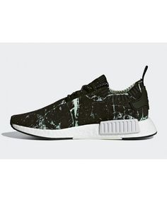 0c958e4046c Adidas NMD R1 Marble Primeknit Black White Green Trainers