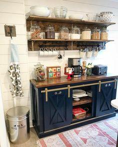 Coffee Bar by The Gritty Porch Furniture Co - Aged brass hardware sliding consol. Coffee Bar by Th Navy Kitchen Cabinets, Kitchen Shelves, Diy Kitchen, Kitchen Decor, Kitchen Ideas, Open Kitchen, Kitchen Storage, Basement Kitchen, Kitchen Organization